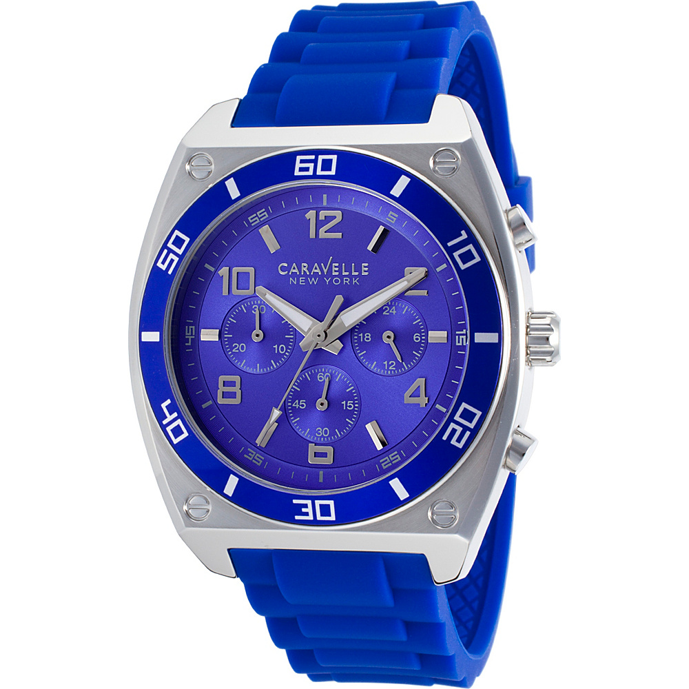 Caravelle New York Watches Mens Chronograph Silicone Band Watch Blue - Caravelle New York Watches Watches