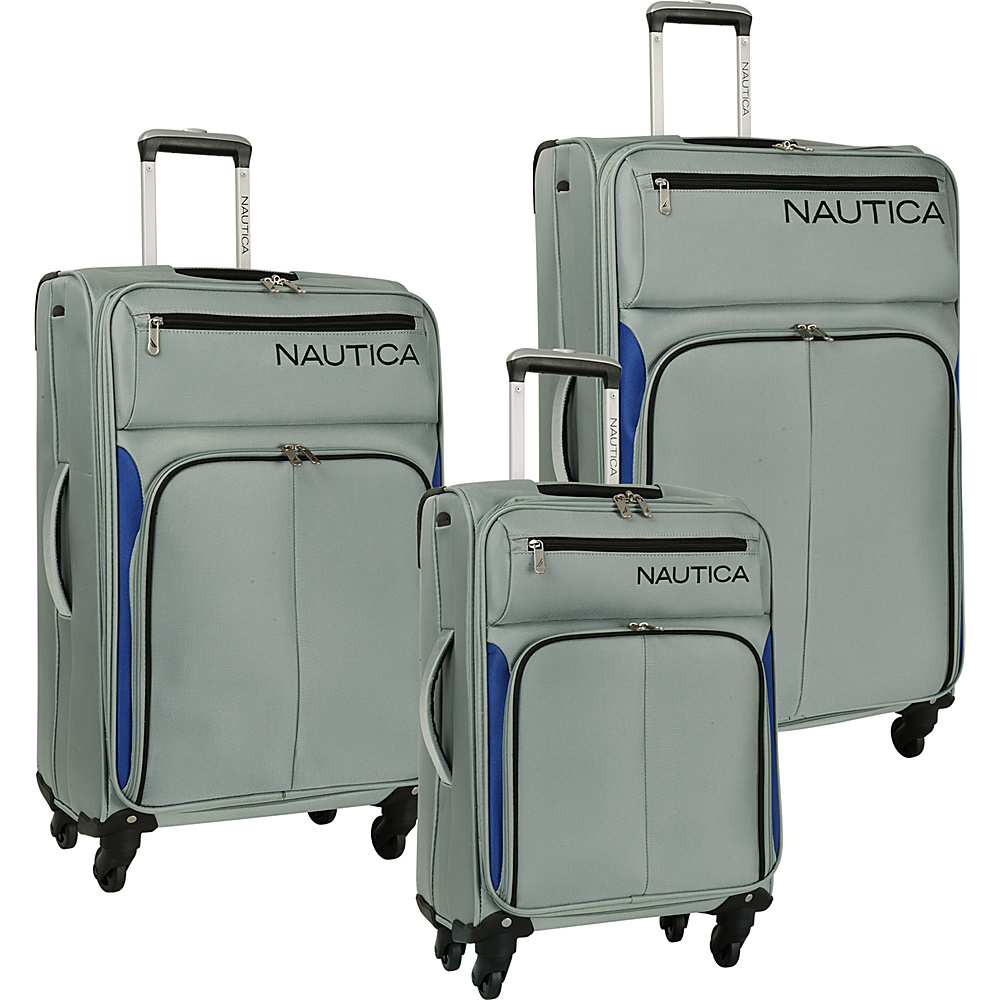 Nautica Ashore 3 Piece Luggage Set Silver/Nautica Blue/Black - Nautica Luggage Sets