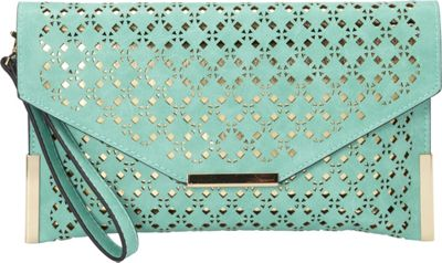 Image of Ampere Creations Ana Laser Cut Vegan Leather Messenger Mint - Ampere Creations Manmade Handbags