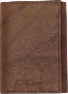 Ben Sherman Luggage Manchester Collection Leather Trifold Wallet Marble Crunch Brown - Ben Sherman Luggage Men's Wallets