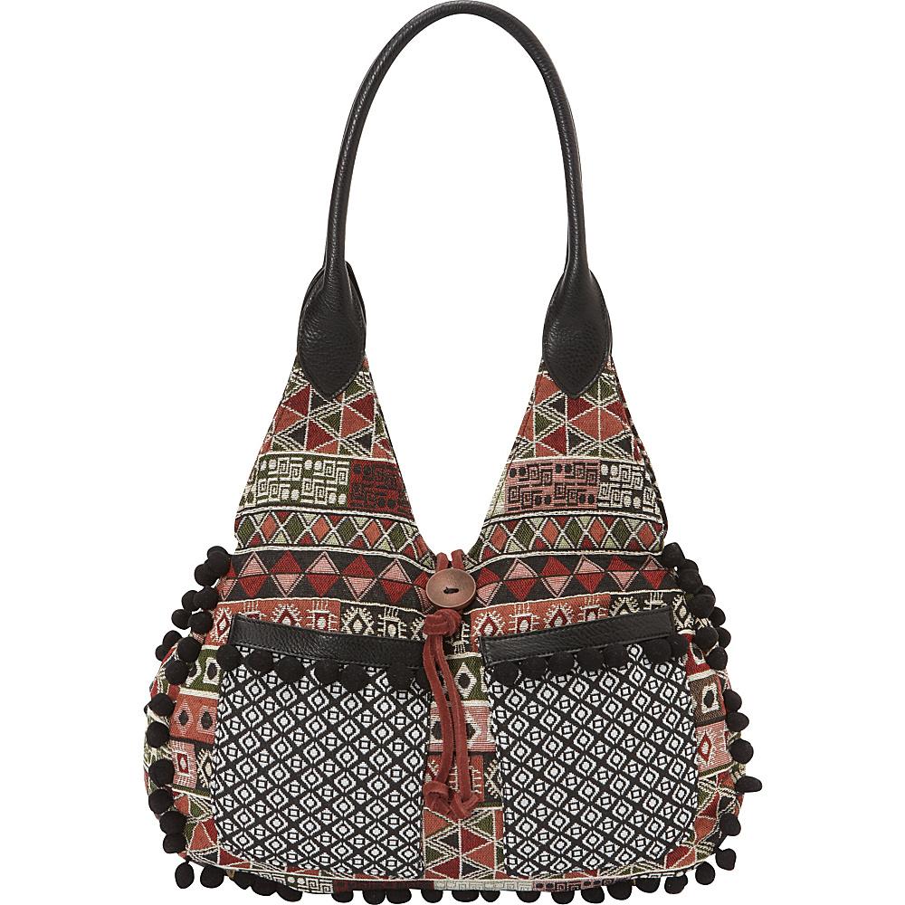 Bandana Tulum Scoop Tote Black Multi Bandana Manmade Handbags