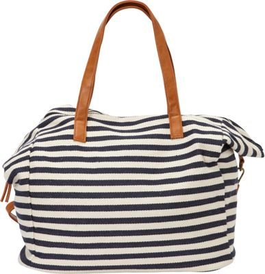 nu G Stripe Cotton Weekender Bag Navy - nu G Fabric Handbags