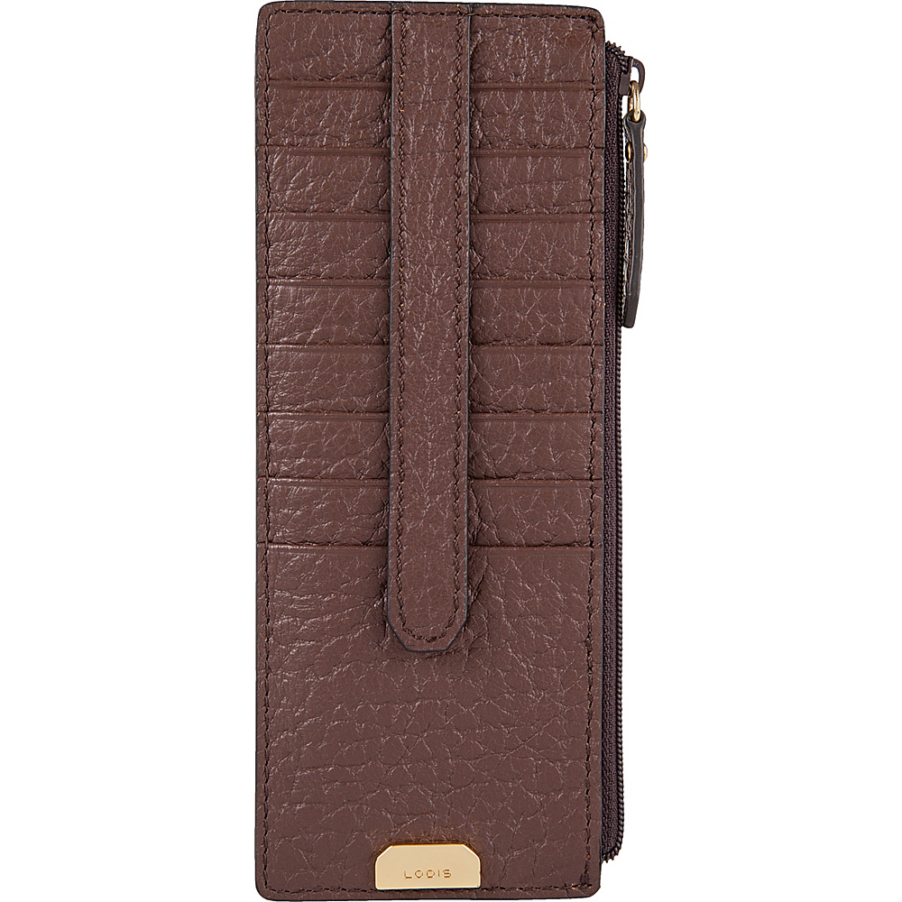 Lodis Borrego Under Lock and Key Credit Card Case with Zipper Dark Brown - Lodis Womens Wallets - Women's SLG, Women's Wallets