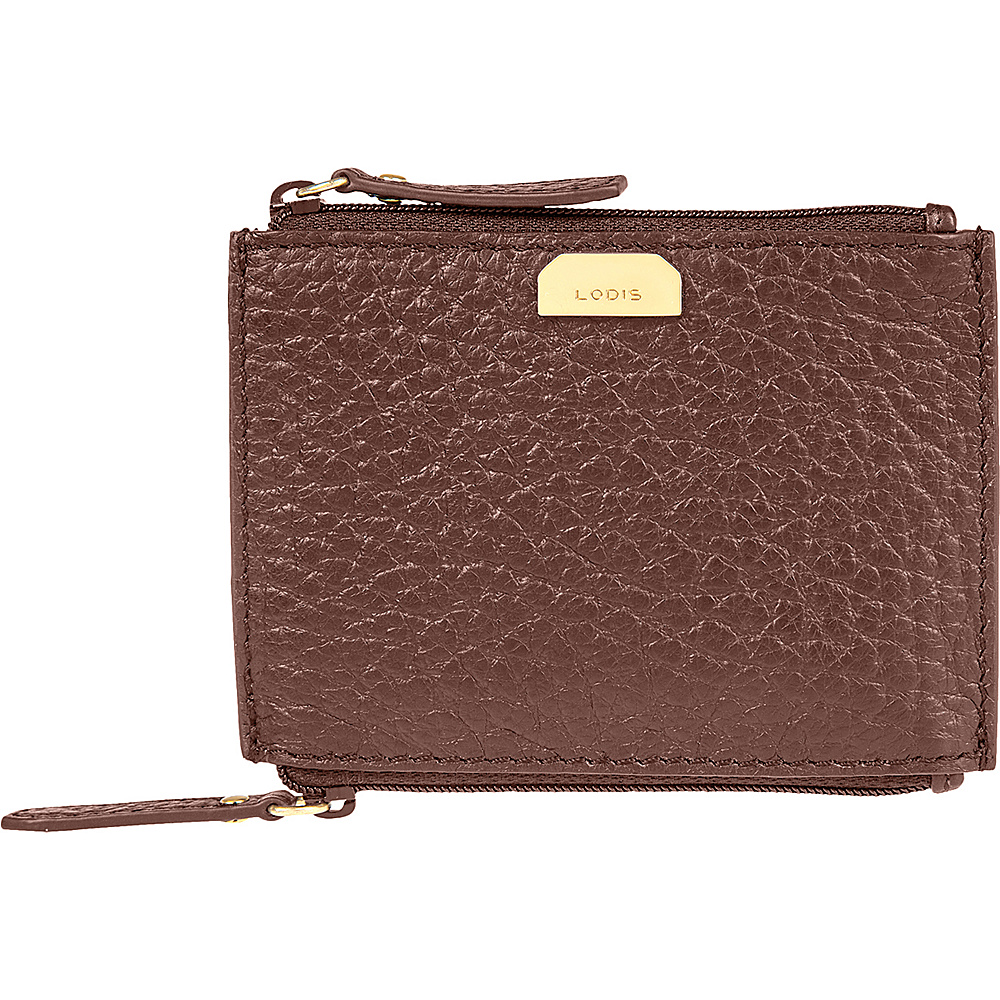 Lodis Borrego Under Lock and Key Frances Double Zip Pouch Dark Brown - Lodis Womens Wallets - Women's SLG, Women's Wallets