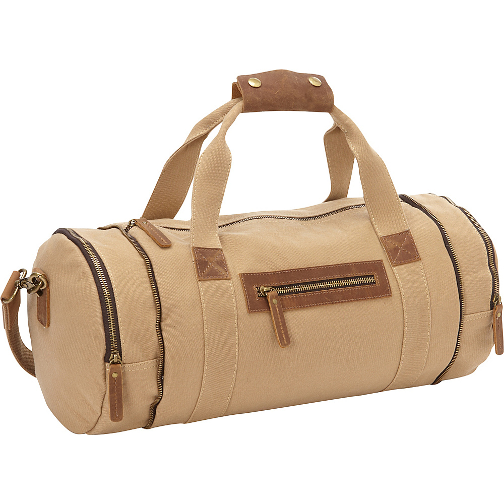 Vagabond Traveler Classic Medium Canvas Duffle Gym Bag Khaki - Vagabond Traveler Travel Duffels - Duffels, Travel Duffels