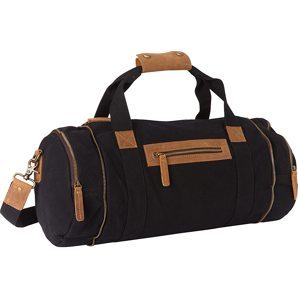 Vagabond Traveler Classic Medium Canvas Duffle Gym Bag Black - Vagabond Traveler Travel Duffels - Duffels, Travel Duffels