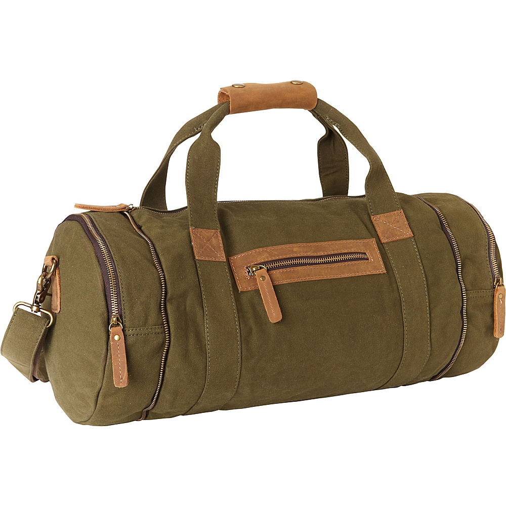 Vagabond Traveler Classic Medium Canvas Duffle Gym Bag Green - Vagabond Traveler Travel Duffels - Duffels, Travel Duffels
