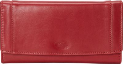 Mancini Leather Goods Manchester Collection: Ladies Medium RFID Clutch Wallet Red - Mancini Leather Goods Women's Wallets