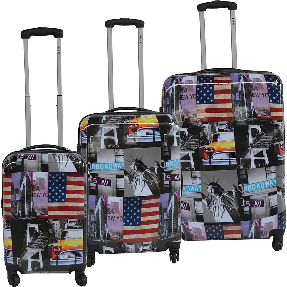 McBrine Luggage Lightweight Hardside 3-Piece Luggage Set New York Landmark Print - McBrine Luggage Luggage Sets