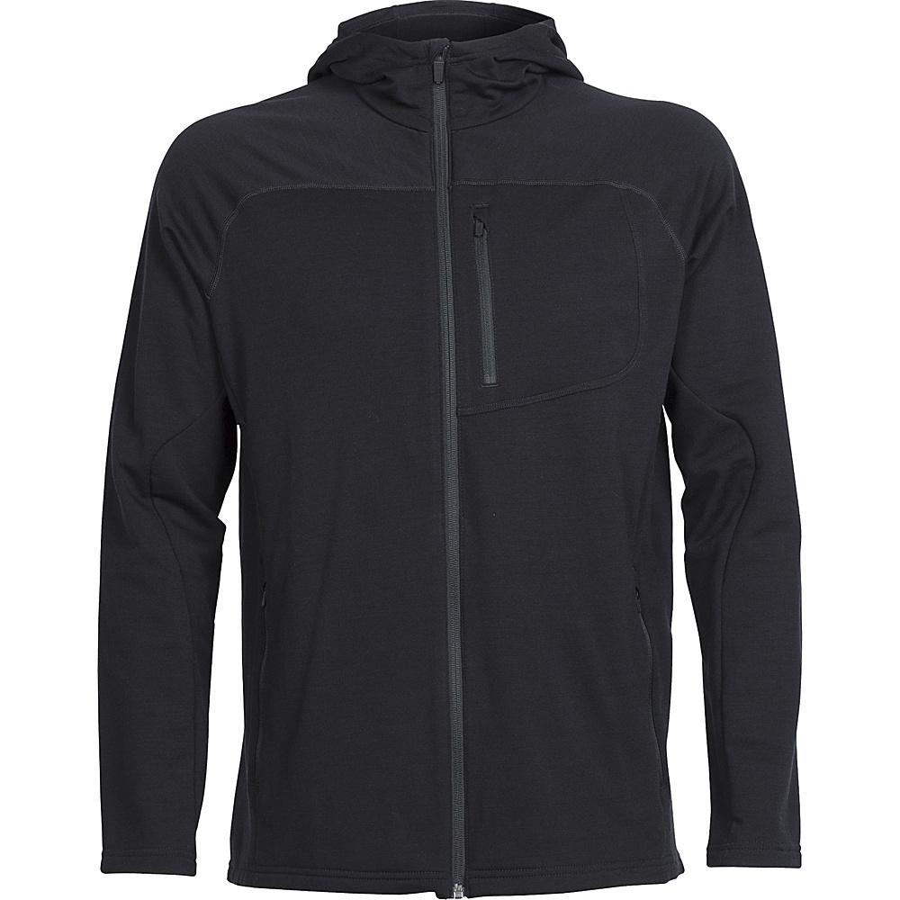 Icebreaker Mens Mt Elliot Long Sleeve Hooded Jacket XL - Black - Icebreaker Mens Apparel - Apparel & Footwear, Men's Apparel