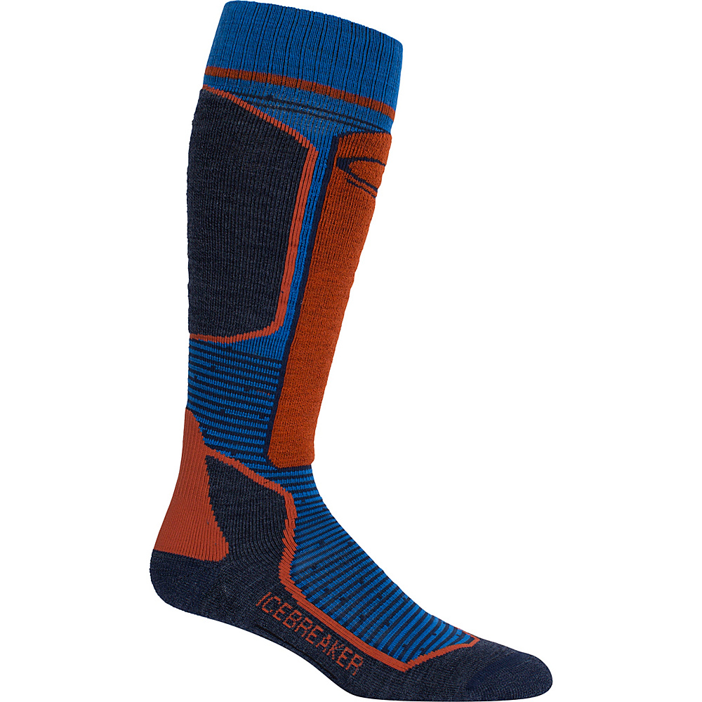 Icebreaker Mens Ski+ Light OTC Sock XL - Cadet/Fathom Heather/Copper - Icebreaker Legwear/Socks - Fashion Accessories, Legwear/Socks
