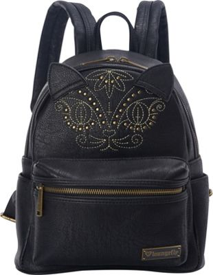 Loungefly Cat Mini Faux Leather Backpack Black - Loungefly Manmade Handbags