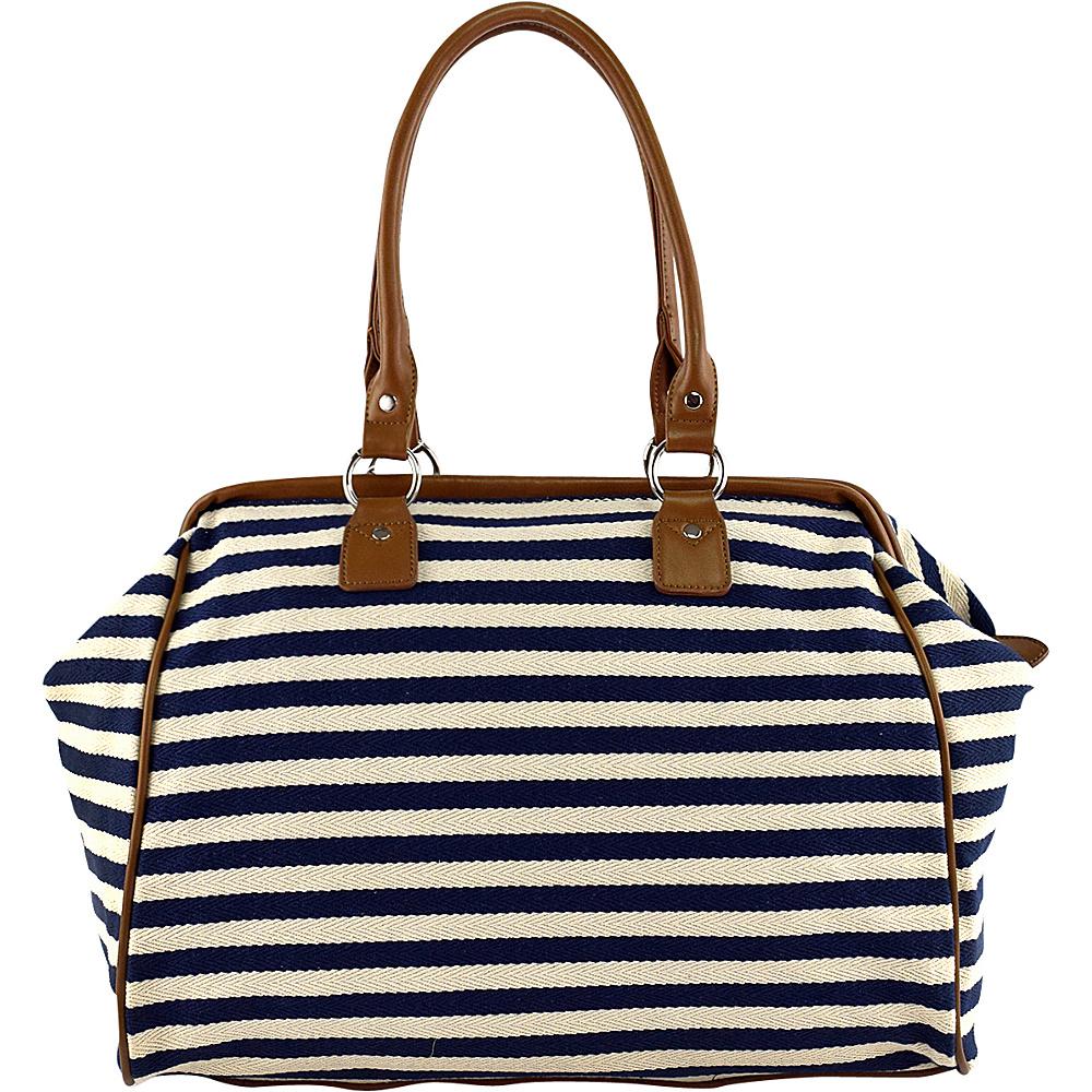 Tara's Travelers Nautical Stripes Framed Duffel Sapphire Stripes - Tara's Travelers Luggage Totes and Satchels
