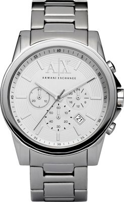 A/X Armani Exchange Smart Stainless Steel Chronograph Watch Silver - A/X Armani Exchange Watches