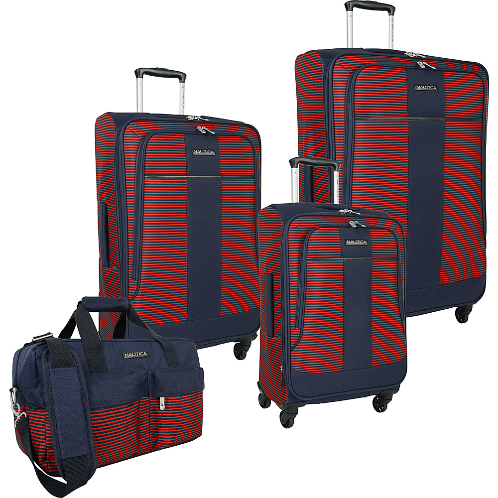 Nautica Beach 4 Piece Set Navy red Nautica Luggage Sets