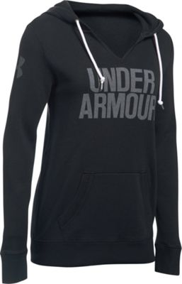 Under Armour Favorite Fleece Wordmark Popover XS - Black/White - Under Armour Women's Apparel