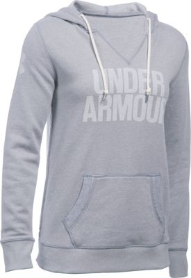 Under Armour Favorite Fleece Wordmark Popover M - True Gray Heather/White - Under Armour Women's Apparel 10493180