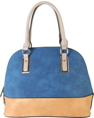 Diophy Two-tone Shell Tote with Removable Straps Blue - Diophy Manmade Handbags