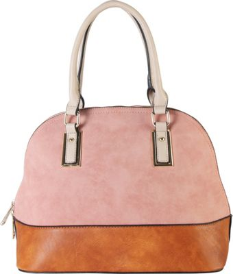 Diophy Two-tone Shell Tote with Removable Straps Pink - Diophy Manmade Handbags