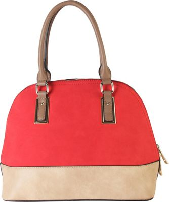 Diophy Two-tone Shell Tote with Removable Straps Red - Diophy Manmade Handbags