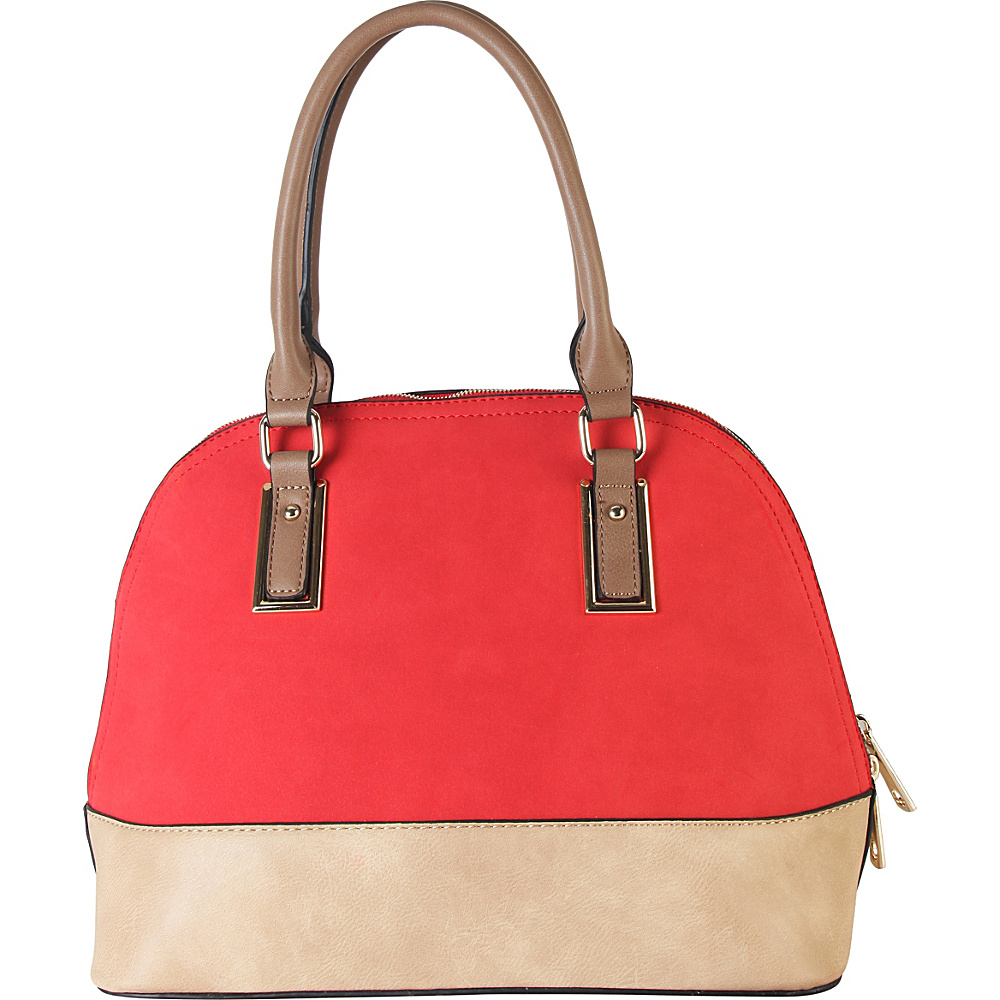 Diophy Two tone Shell Tote with Removable Straps Red Diophy Manmade Handbags