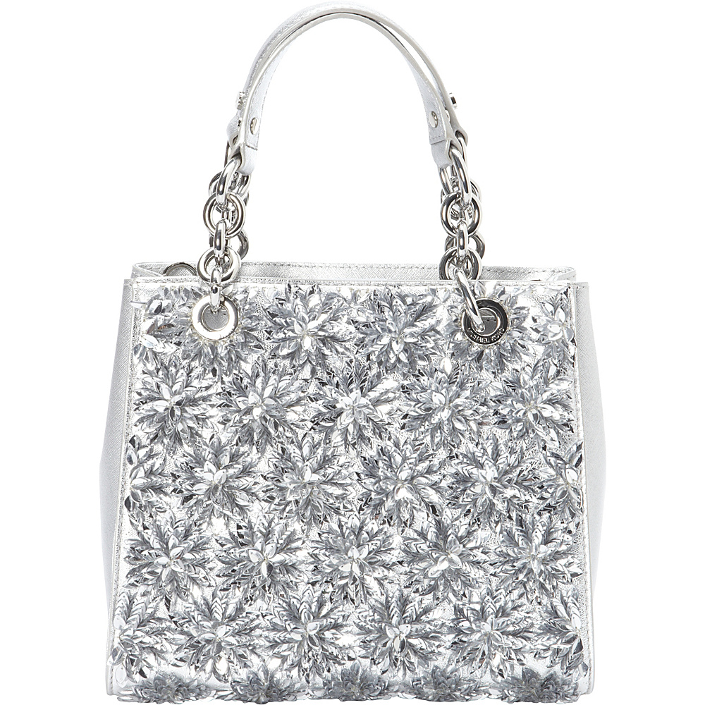 MICHAEL Michael Kors Flora Burst Small Satchel Silver MICHAEL Michael Kors Designer Handbags