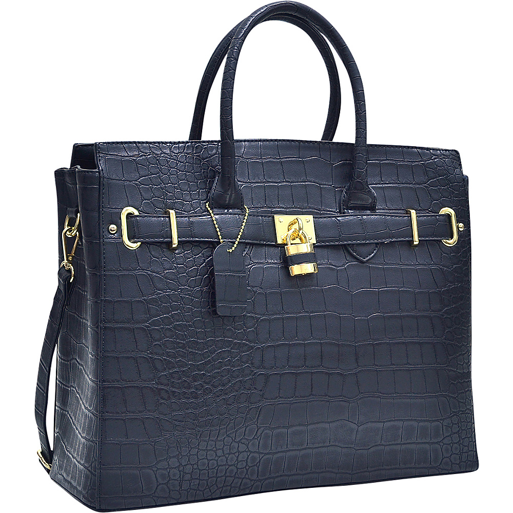 Dasein Dasein Croco Embossed Satchel with Padlock Black - Dasein Manmade Handbags - Handbags, Manmade Handbags