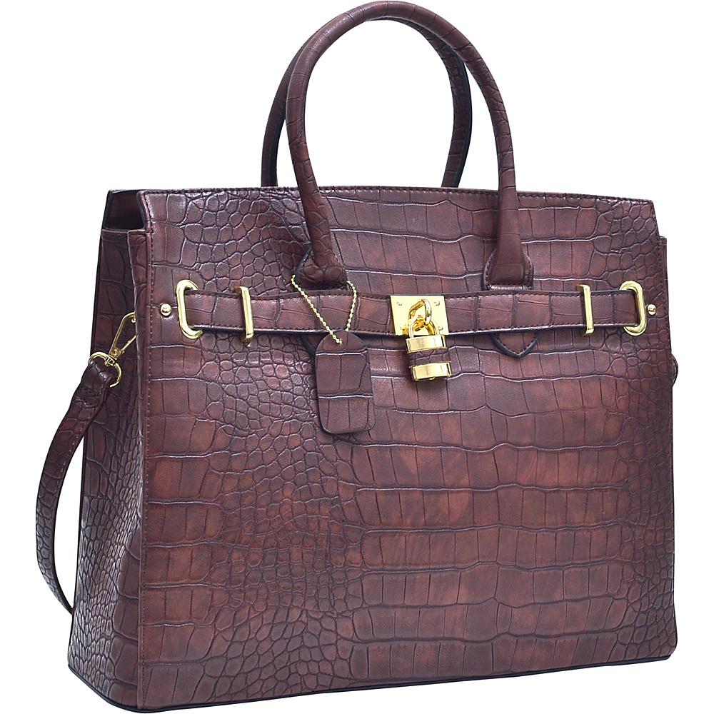 Dasein Dasein Croco Embossed Satchel with Padlock Coffee - Dasein Manmade Handbags - Handbags, Manmade Handbags