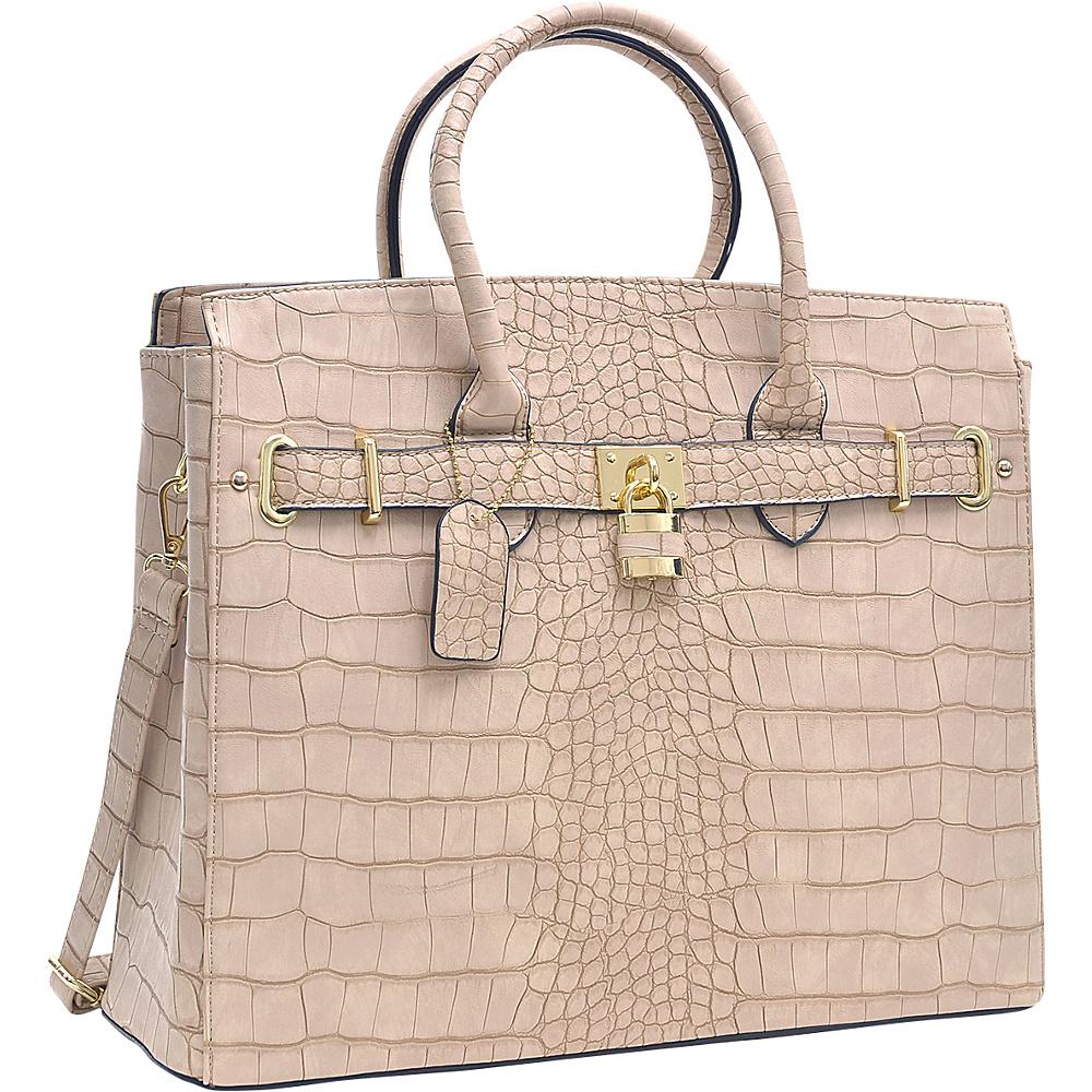 Dasein Dasein Croco Embossed Satchel with Padlock Stone - Dasein Manmade Handbags - Handbags, Manmade Handbags