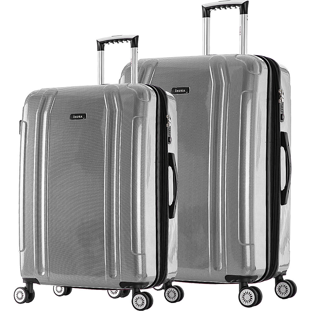 inUSA SouthWorld 23 27 2 Piece Hardside Spinner Luggage Set Silver Brush inUSA Luggage Sets