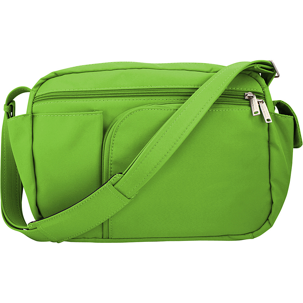 BeSafe by DayMakers Anti Theft 10 Pocket Messenger with Organizer Hard Bottom Bright Green BeSafe by DayMakers Fabric Handbags