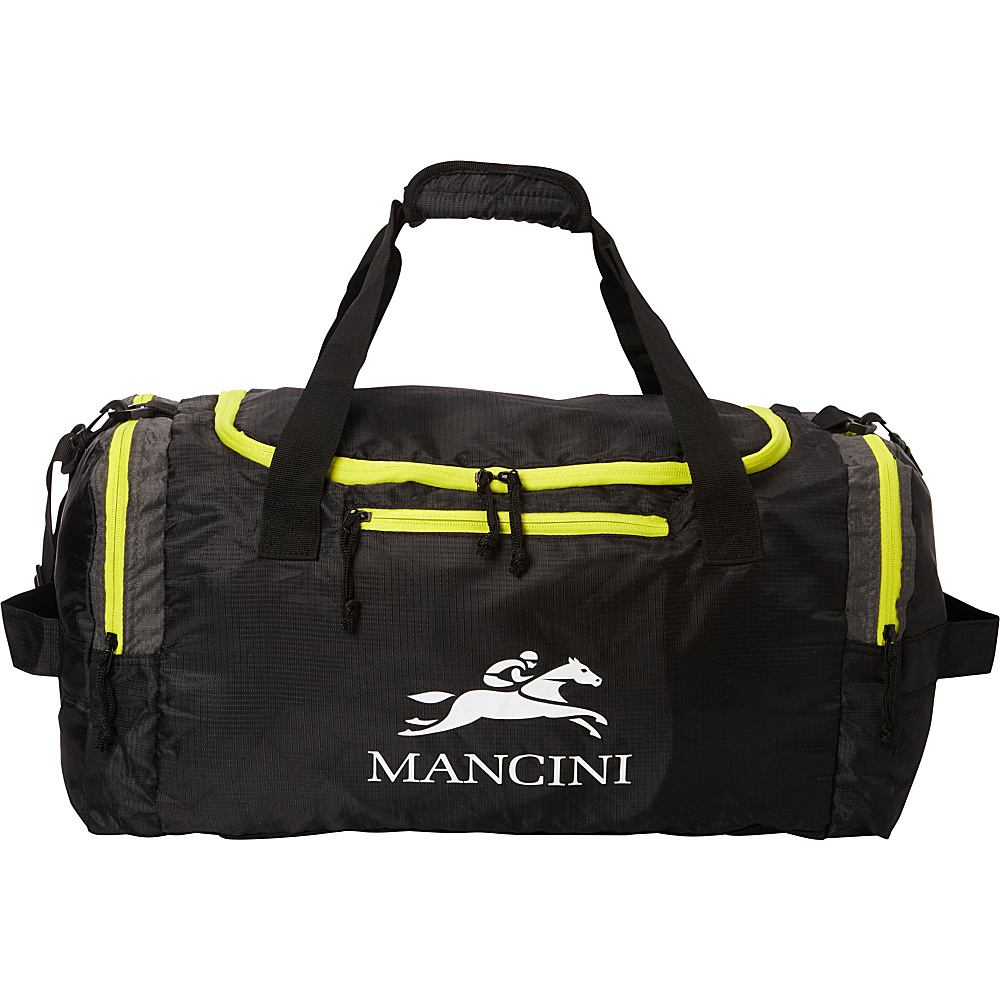 Mancini Leather Goods Travel Packable Duffle Bag Black Mancini Leather Goods All Purpose Duffels
