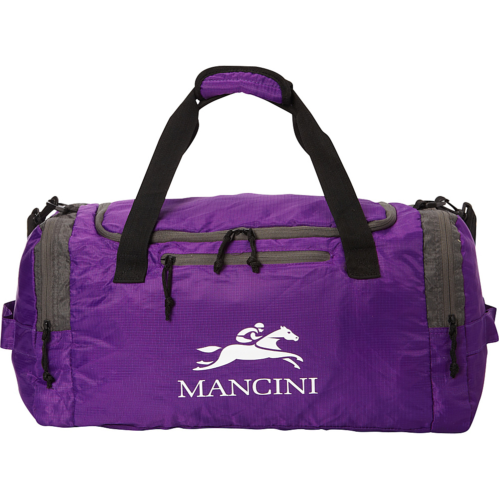 Mancini Leather Goods Travel Packable Duffle Bag Purple Mancini Leather Goods All Purpose Duffels