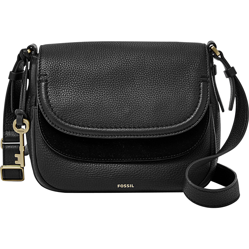 Fossil Peyton Double Flap Crossbody Black - Fossil Leather Handbags