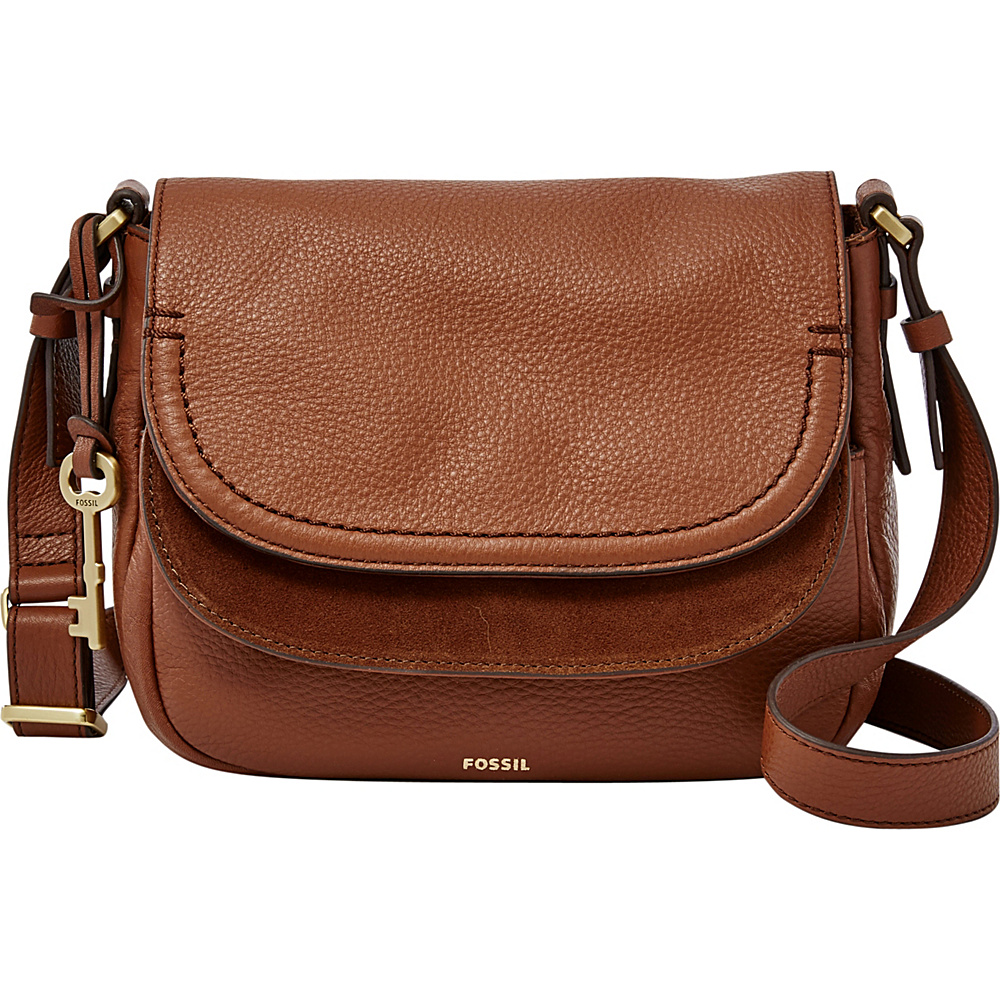 Fossil Peyton Double Flap Crossbody Brown - Fossil Leather Handbags