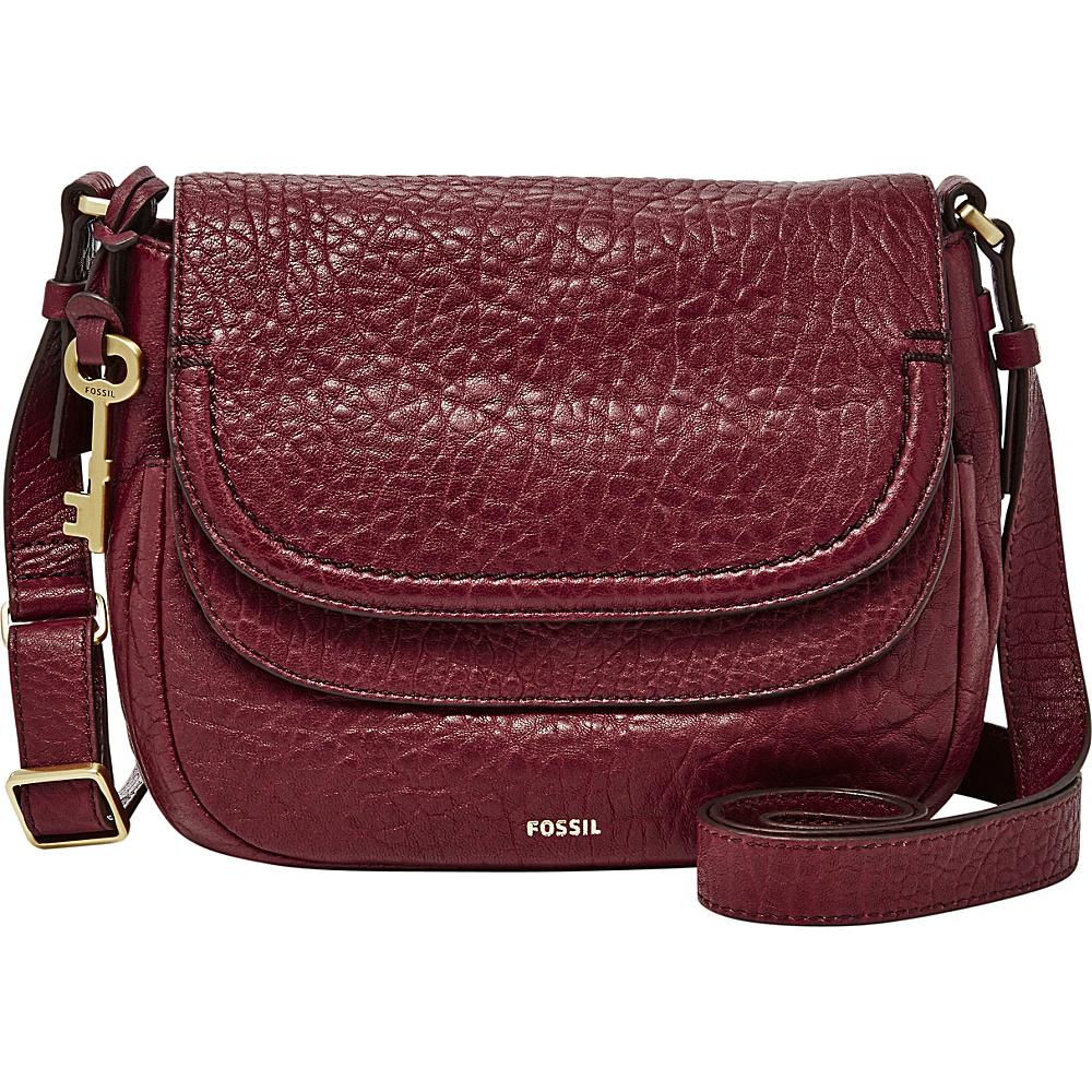 Fossil Peyton Double Flap Crossbody Wine - Fossil Leather Handbags