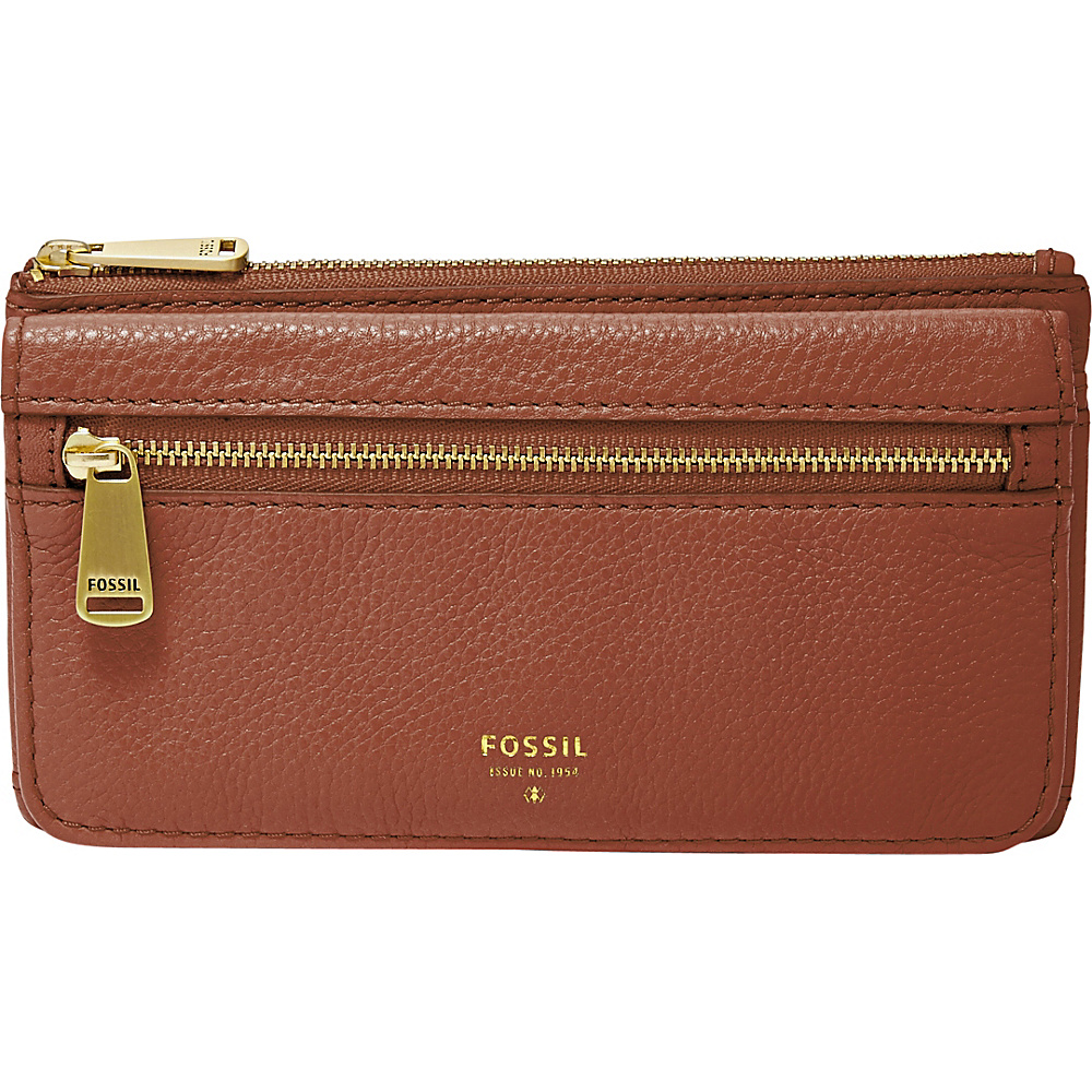 Fossil Preston RFID Tri-Fold Clutch Brown - Fossil Womens Wallets - Women's SLG, Women's Wallets