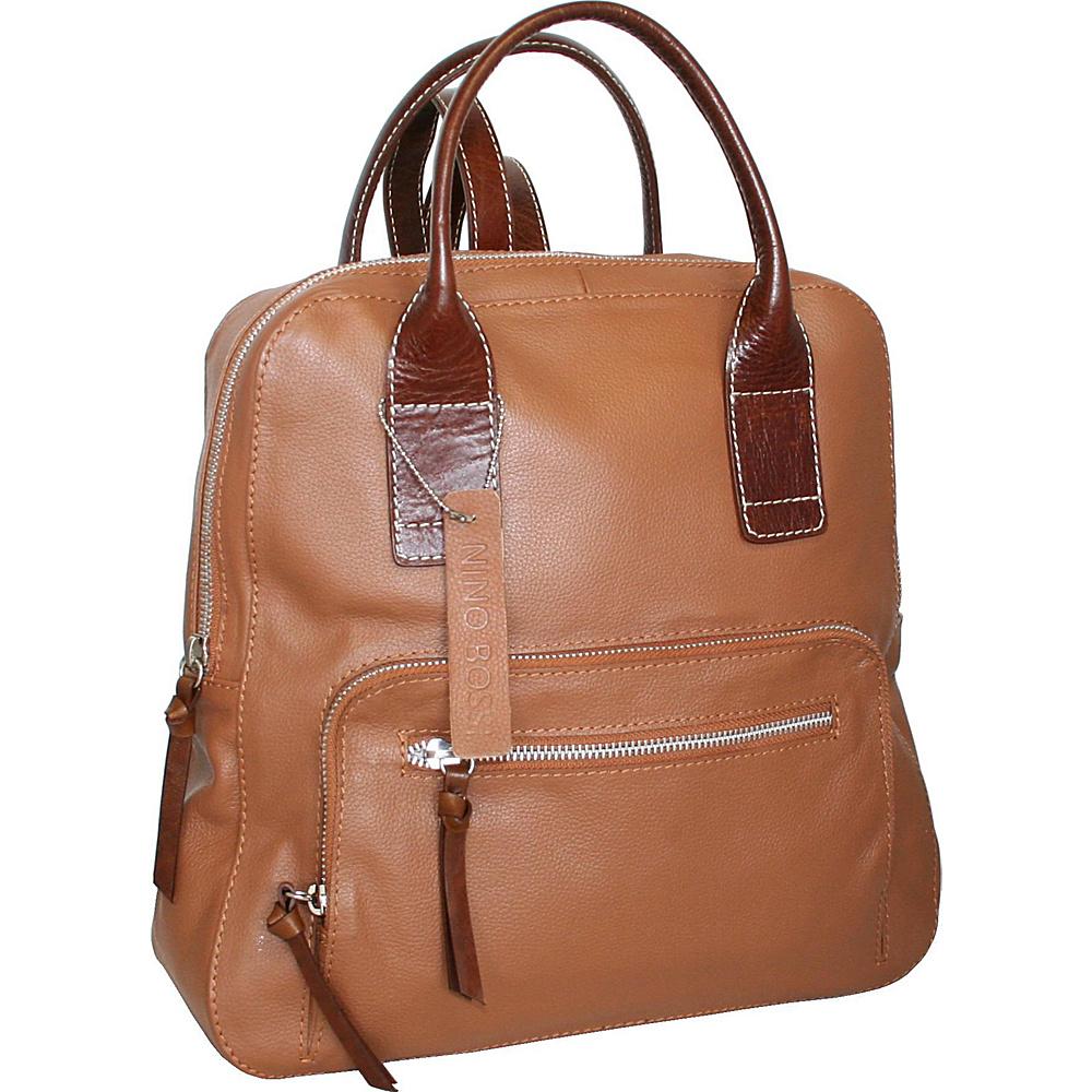 Nino Bossi Lily Petal Backpack Handbag Cognac - Nino Bossi Leather Handbags - Handbags, Leather Handbags