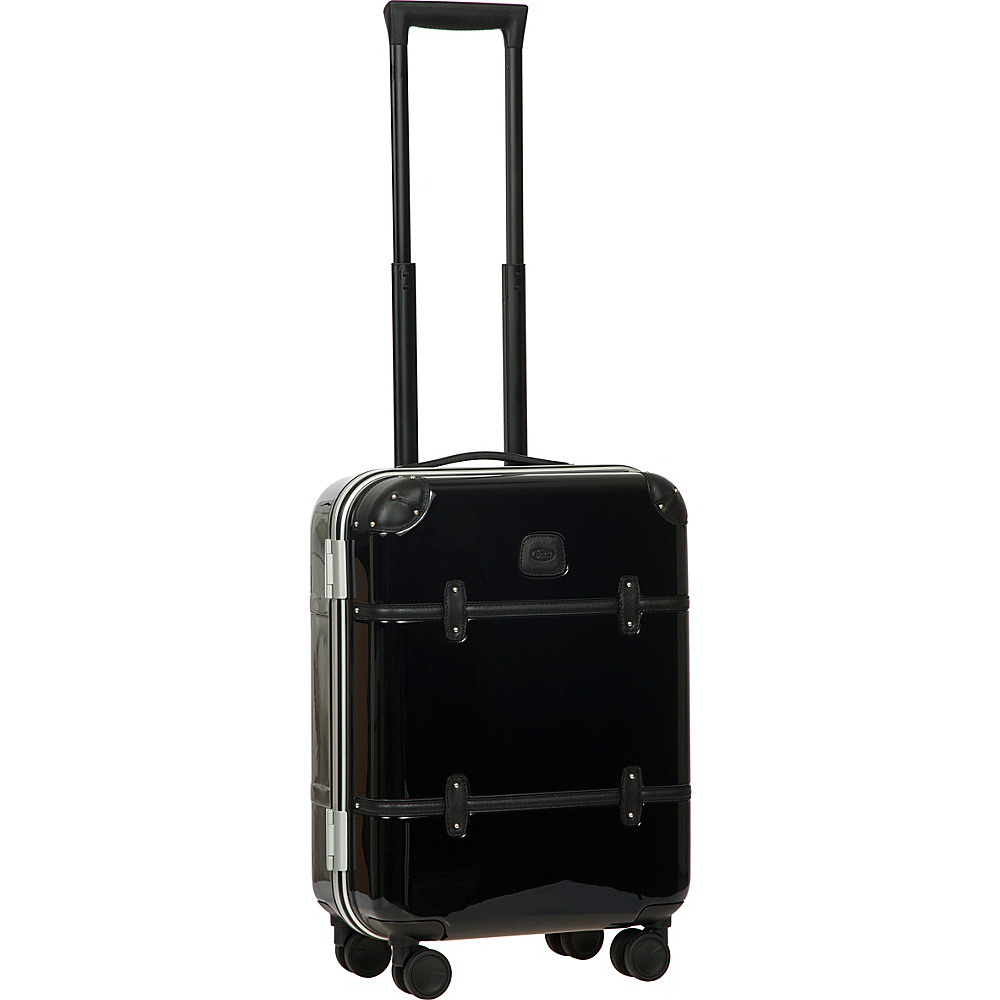 BRIC S Bellagio Metallo 2.0 21 Carry On Spinner Trunk Black Black Leather BRIC S Hardside Carry On