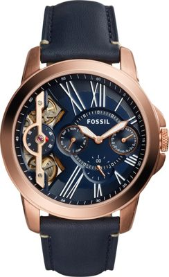 Fossil Grant Twist Three-Hand Leather Watch Blue - Fossil...