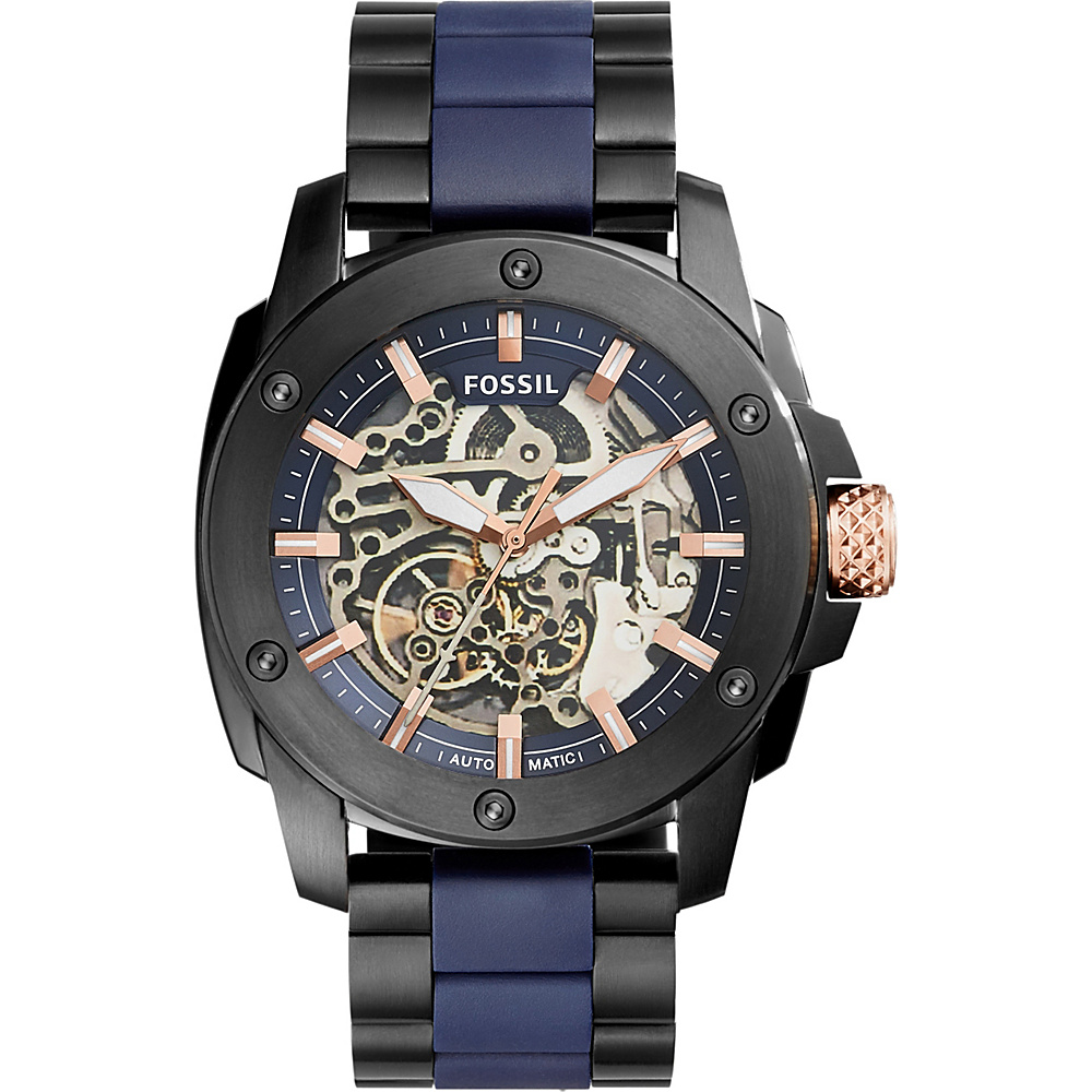 Fossil Modern Machine Automatic Stainless Steel and Silicone Watch Black - Fossil Watches - Fashion Accessories, Watches
