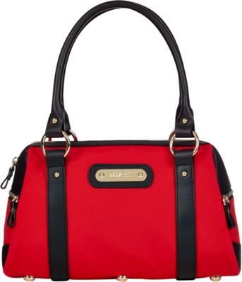 Davey's Doctor Bag Satchel Red/Black Leather - Davey's Fabric Handbags