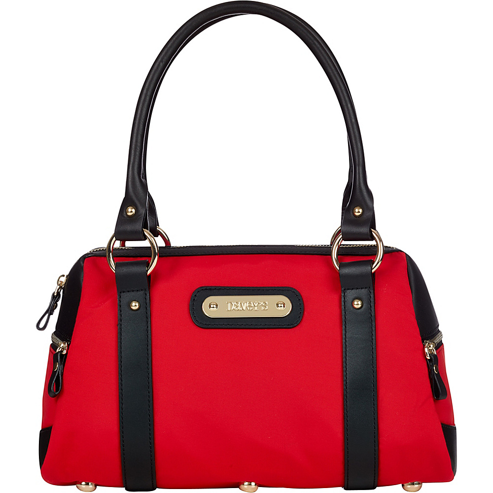 Davey s Doctor Bag Satchel Red Black Leather Davey s Fabric Handbags
