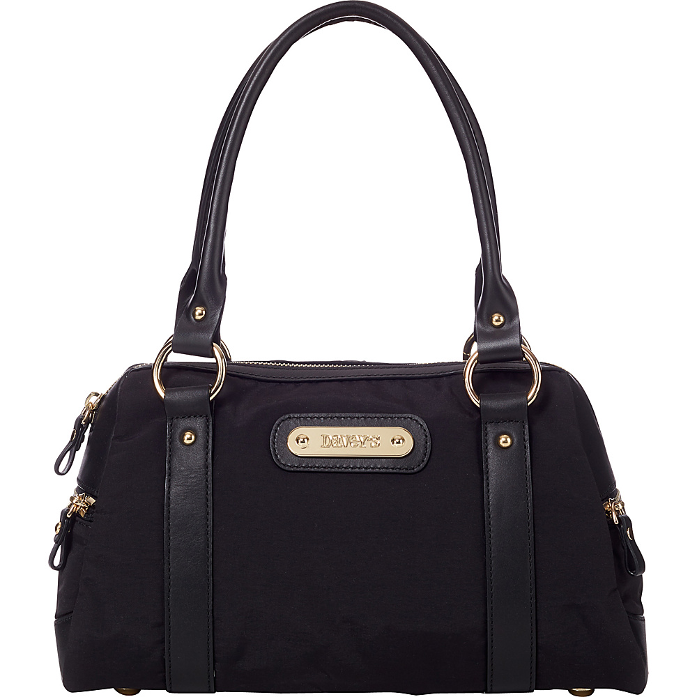 Davey s Doctor Bag Satchel Black Davey s Fabric Handbags