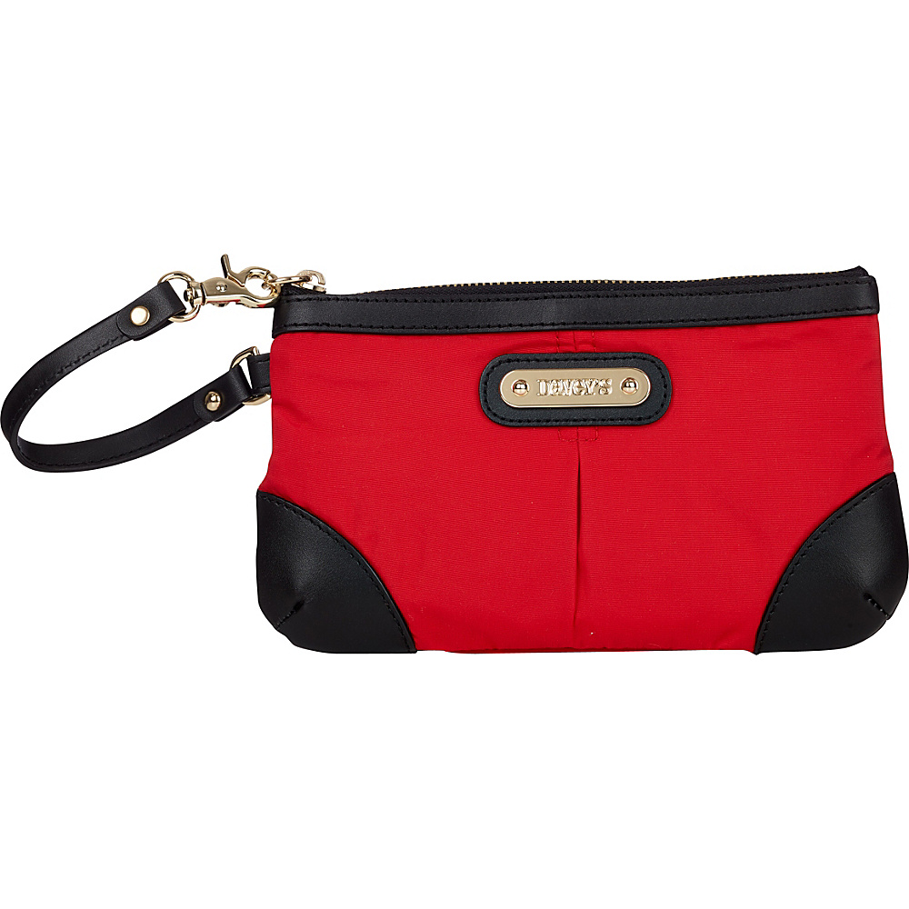 Davey s Medium Wristlet Red Black Leather Davey s Fabric Handbags
