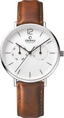 Obaku Watches Mens Ceramic Multifunction Leather Watch Brown/Silver - Obaku Watches Watches
