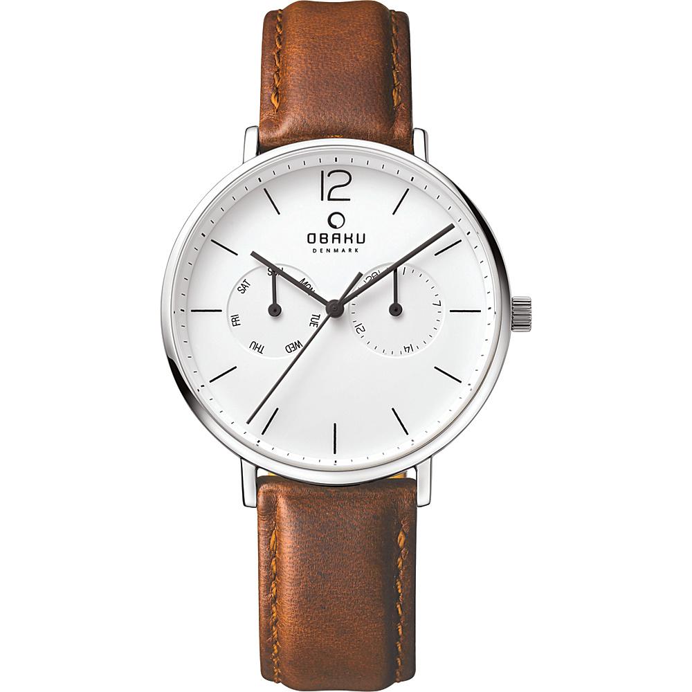 Obaku Watches Mens Ceramic Multifunction Leather Watch Brown Silver Obaku Watches Watches