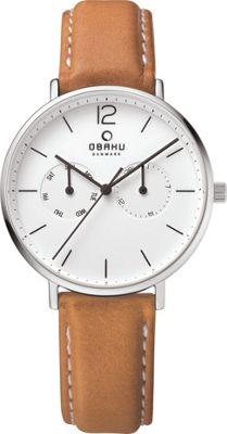 Obaku Watches Mens Ceramic Multifunction Leather Watch Light Brown/Silver - Obaku Watches Watches