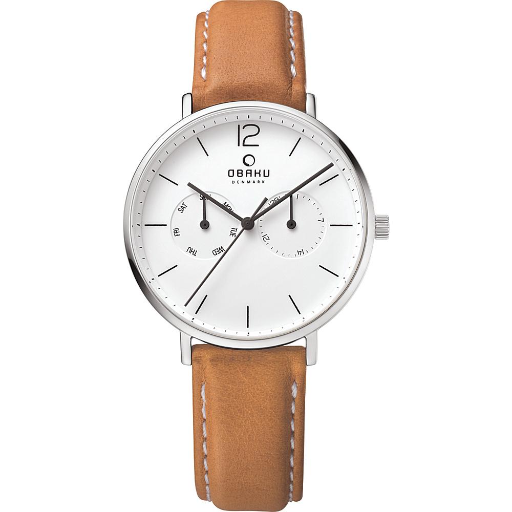 Obaku Watches Mens Ceramic Multifunction Leather Watch Light Brown Silver Obaku Watches Watches