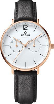 Obaku Watches Mens Ceramic Multifunction Leather Watch Black/Rose Gold - Obaku Watches Watches
